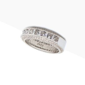 Elizabeth sterling silver CZ white diamond band